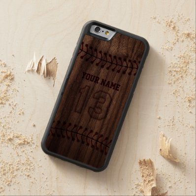 Baseball Number 13 with Your Name - Wooden Sporty Carved® Walnut iPhone 6 Bumper Case