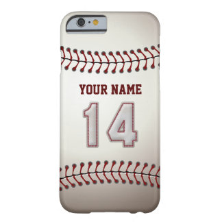 Baseball Number 14 with Your Name - Modern Sporty Barely There iPhone 6 Case