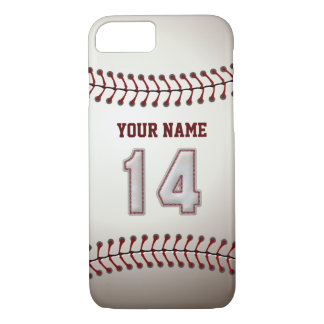 Baseball Number 14 with Your Name - Modern Sporty iPhone 8/7 Case