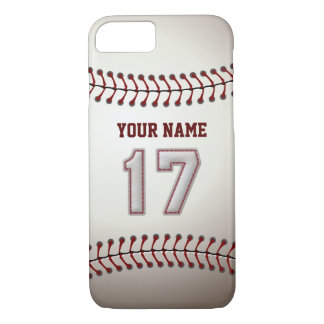 Baseball Number 17 with Your Name - Modern Sporty iPhone 7 Case