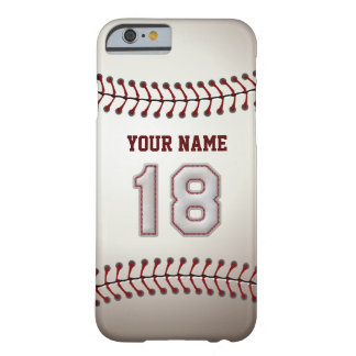 Baseball Number 18 with Your Name - Modern Sporty Barely There iPhone 6 Case
