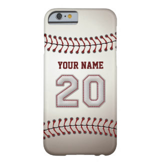 Baseball Number 20 with Your Name - Modern Sporty Barely There iPhone 6 Case