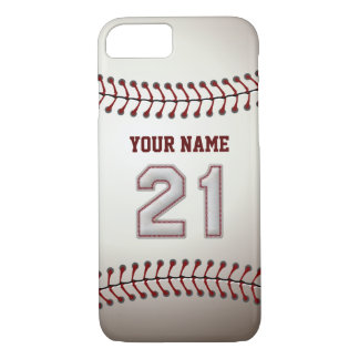 Baseball Number 21 with Your Name - Modern Sporty iPhone 7 Case