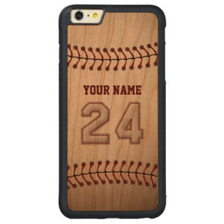Baseball Number 24 with Your Name - Wooden Sporty Carved® Cherry iPhone 6 Plus Bumper