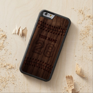 Baseball Number 28 with Your Name - Wooden Sporty Carved® Walnut iPhone 6 Bumper