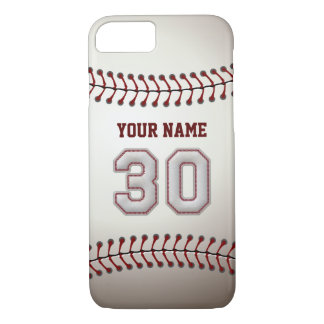 Baseball Number 30 with Your Name - Modern Sporty iPhone 8/7 Case