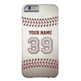 Baseball Number 39 with Your Name - Modern Sporty Barely There iPhone 6 Case