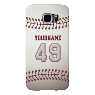 Baseball Number 49 Custom Name Stylish and Unique Samsung Galaxy S6 Case