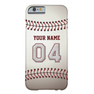 Baseball Number 4 with Your Name - Modern Sporty Barely There iPhone 6 Case