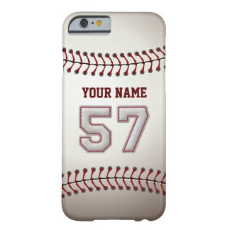 Baseball Number 57 with Your Name - Modern Sporty Barely There iPhone 6 Case