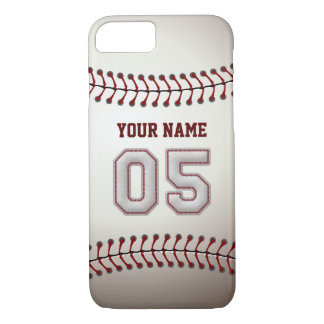 Baseball Number 5 with Your Name - Modern Sporty iPhone 7 Case