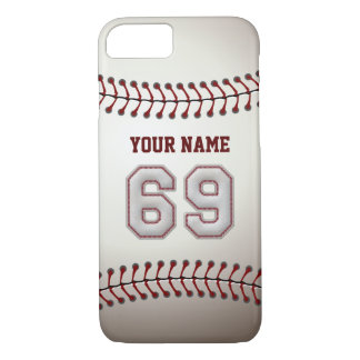 Baseball Number 69 with Your Name - Modern Sporty iPhone 7 Case