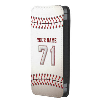 Baseball Number 71 with Personalized Name iPhone SE/5/5s/5c Pouch
