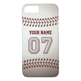 Baseball Number 7 with Your Name - Modern Sporty iPhone 8/7 Case