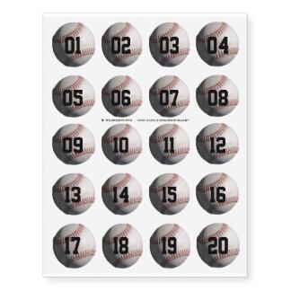 Baseball Numbered Ball Temporary Tattoos