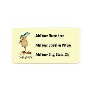 Baseball Nut T-shirts and Gifts Custom Address Labels