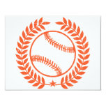 """Baseball Olive Branch and Star 4.25"""" X 5.5"""" Invitation Card"""
