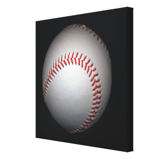 Baseball on black background, close-up canvas print