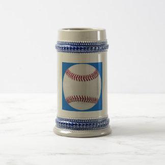 Baseball on blue beer stein