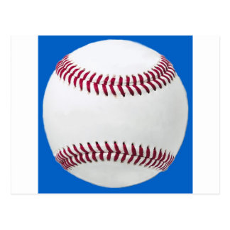 Baseball on blue postcard