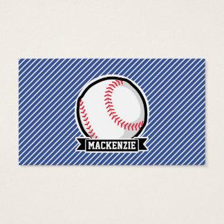 Baseball on Blue & White Stripes Business Card