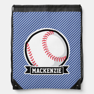 Baseball on Blue & White Stripes Drawstring Backpack