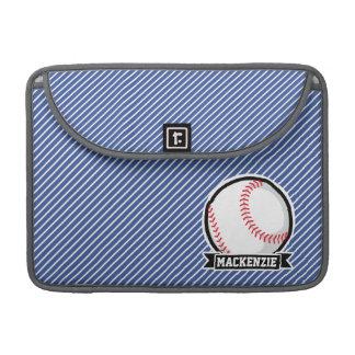 Baseball on Blue & White Stripes Sleeves For MacBook Pro