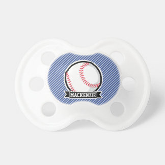 Baseball on Blue & White Stripes BooginHead Pacifier