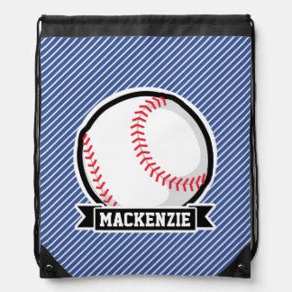 Baseball on Blue & White Stripes Cinch Bag