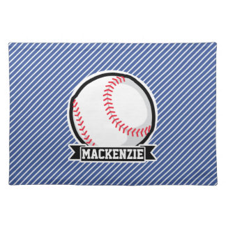 Baseball on Blue & White Stripes Cloth Place Mat