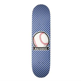 Baseball on Blue & White Stripes Skate Deck