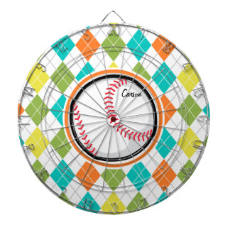 Baseball on Colorful Argyle Pattern Dart Boards
