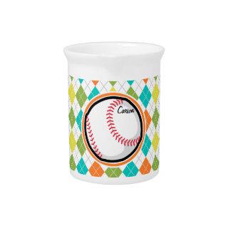 Baseball on Colorful Argyle Pattern Drink Pitcher