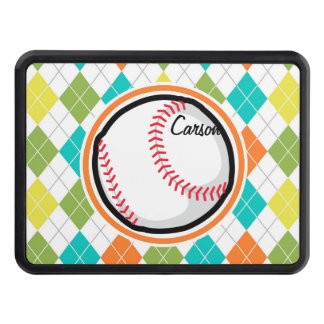 Baseball on Colorful Argyle Pattern Tow Hitch Cover