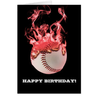 baseball on fire card