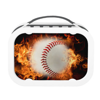 Baseball on fire. yubo lunchboxes