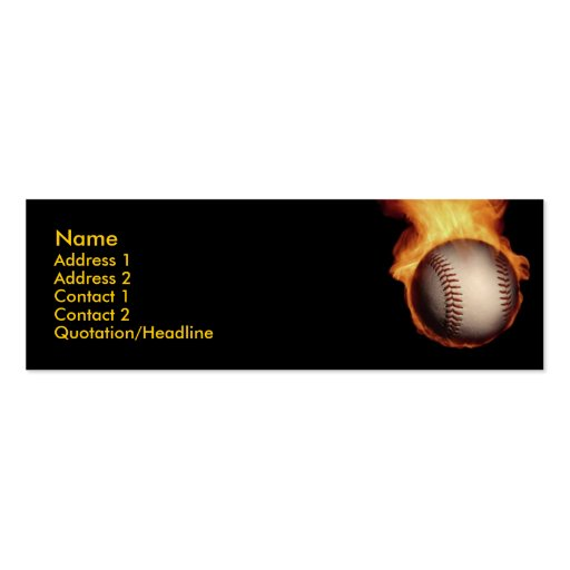 Baseball On Fire Profile Card Double-Sided Mini Business Cards (Pack Of 20)