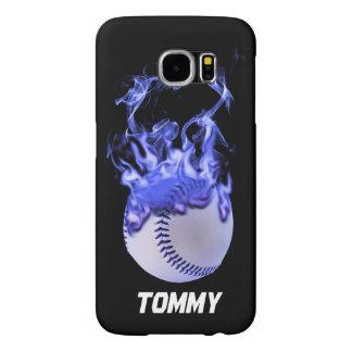 Baseball on fire samsung galaxy s6 case
