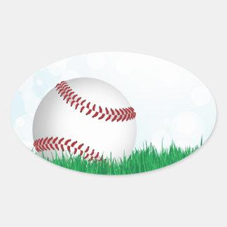 baseball on grass oval sticker