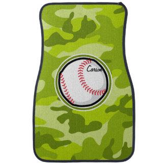 Baseball on Green Camo, Camouflage Car Mat
