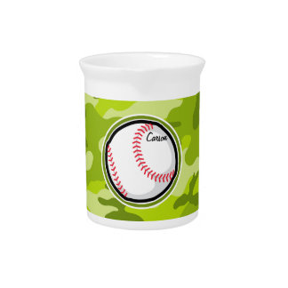 Baseball on Green Camo, Camouflage Drink Pitcher