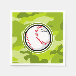 Baseball on Green Camo, Camouflage Disposable Napkin
