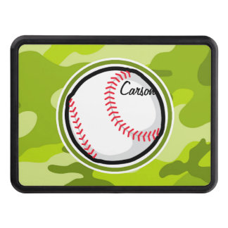 Baseball on Green Camo, Camouflage Trailer Hitch Cover