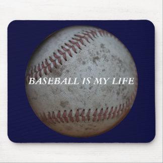 Baseball On Navy Blue Mouse Pad