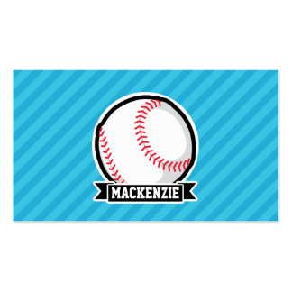 Baseball on Sky Blue Stripes Business Card