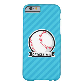 Baseball on Sky Blue Stripes Barely There iPhone 6 Case