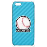Baseball on Sky Blue Stripes iPhone 5C Cases