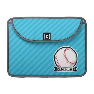 Baseball on Sky Blue Stripes MacBook Pro Sleeve