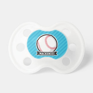 Baseball on Sky Blue Stripes BooginHead Pacifier