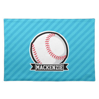 Baseball on Sky Blue Stripes Cloth Placemat